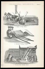AGRICULTURAL IMPLEMENTS 1883 Burgess & Key's Reaper Thrashing LITHOGRAPH #6