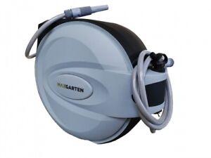 automatischer Schlauchaufroller Wasserschlauch Schlauchtrommel grau inkl.