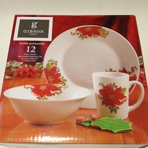 Noble Poinsettia - Dinnerware Set by Gibson New in Box 12 Pcs Service 4