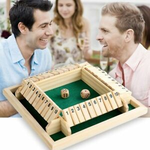 Deluxe Four Sided 10 Numbers Shut The Box Board Game Set Dice Party Club Games