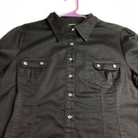 Apt 9 Women's Short Sleeve Button Up Shirt Top XL Black Two Pockets Casual