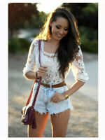 Staring at Stars small XS Mesh Embroidered Top Cream Ivory