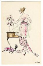 POSTCARD WOMAN WITH SMALL DOG ARTIST-SIGNED E. WEBER