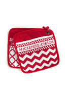 MacKenzie-Childs Red & White Zig Zag Pot Holders - Set of 2