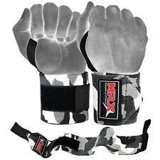 MRX Weight Lifting Training Wraps Wrist Support Gym Fitness Bandage Camo Grey