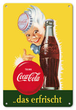 Drink (Trink) Coca Cola 1950s - 8in x 12in Vintage Metal Sign