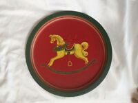 "Wangs International 12"" Round Red/Green Rocking Horse Metal Holiday Serving Tray"
