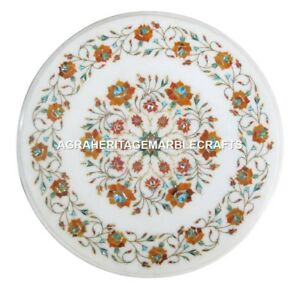 White Marble Coffee Table Top Mosaic Hakik Floral Inlaid Work Garden Decor H1860