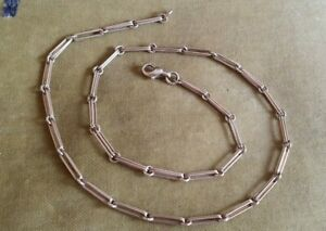 """SUPERB STRONG 18"""" VINTAGE UNUSUAL ELONGATED LINK 9ct GOLD NECKLACE CHAIN HEAVY"""