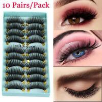 10Pairs 3D Faxu Mink Hair False Eyelashes Crisscross Wispy Fluffy Natural Lashes