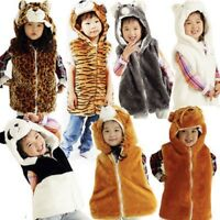 *ANIMAL JACKET FLEECE LINED POCKETS HOODY GILET ZIP WINTER FUR KIDS HATS BODY