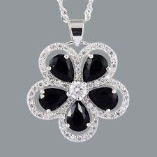 Pear Cut Black Onyx 18K White Gold Plated CZ Pendant N Free Chain