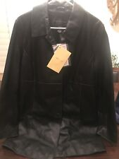 Centigrade Womens Leather Jacket Coat Full Zip Size Large Black QVC