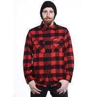 REDNEK Lumberjack Shirt Black Red hotrod flannel shirt Black Checkered shirt