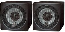 NEW Pyle PCB3BK PAIR of 100W 3'' Mini Cube Bookshelf Speakers (BLACK - PAIR)