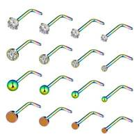 16PCS 20G Surgical Steel CZ Opal Nose L-Shaped Ring Studs Body Piercing Jewelry