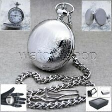 Silver Antique BRASS Men Quartz Pocket Watch Japan Movement with Chain Box P54