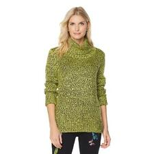 DG2 by Diane Gilman Marled Turtleneck Sweater in Citrine, Large