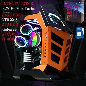 Intel Dark Gaming PC i7-8700K 4.70GHz 6 Cores 64GB RAM SSD GeForce GT Desktop PC