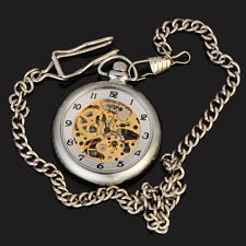 Classic Open Face 12 Hours Skeleton Mens Mechanical Silver Case Pocket Watch