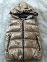 Duvetica Febe Goose Down Shiny Full Zip Hooded Vest Mashroom Grey 40 IT 2 US S