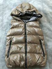 Duvetica Febe Goose Down Shiny Full Zip Hooded Vest Mashroom Grey 40 IT 2 US S