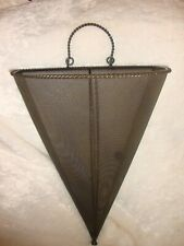 Large Wrought Iron Metal Hanging Wall Hugger Cone-Shaped Cylindrical Basket  364