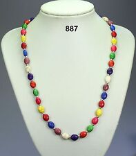 "Multi-coloured oval dyed howlite (stone) bead necklace, silver spacers - 23""+2"""