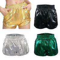 Lady Girl Sexy Metallic Shiny Shorts Mini Party Club PU Elastic Waist Dance Cute