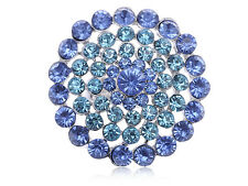 Large Round Face Aqua Blue Crystal RhinesFloral Fashion Custom Chic Ring