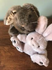 "Rabbit Hand Puppet  1985  12"" With Friend Small Cream Bunny"