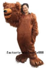 Halloween Long Fur Brown Bear Mascot Costume suits Animal Adults size handmade A