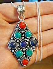 """LAPIS CORAL TURQUOISE Multi Gemstone 925 Sterling Silver Pendant & Necklace 18"""""""