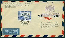 Germany 1931 Baltic Sea Zeppelin Flight via Lubeck to U.S. w/C36 2mk zepp tied