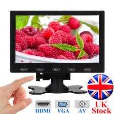 "7"" LCD CCTV Monitor Mini HD Screen AV/VGA/HDMI for PC DSLR Raspberry PI UK STOCK"