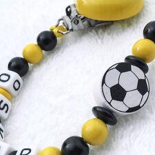 Schnullerkette mit Namen ❤ Fussball ❤ schwarz gelb ❤  Babygeschenk ❤ Dortmund