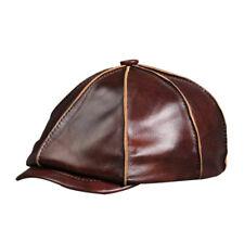 New 100% Brown Sheepskin Leather Men's Casual Hat  Golf Cap  Newsboy Hat  Beret