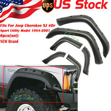 96-01 Jeep Cherokee Xj Pocket Style Black Wide Fender Flare Protector 6PCS - ABS
