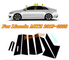 For Lincoln MKZ 2015-2020 PVC Bright BLACK Car Window Pillar Posts Cover trim