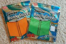 New Lot of 2 Fabric Jumbo Book Covers Stretchable Orange Green School Xxl