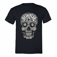 Men's Sugar Skull Day of the Dead Black Mexican Gothic Dia Los Muertos T-Shirt