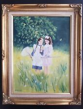 Two Girls Catching Butterflies Painting Original Friends Sisters Signed R Roome