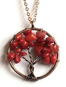 "Rose Gold Red Coral Tree of Life Necklace 20"" Celtic Plated Copper Gemstone"