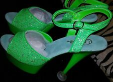 LADIES SANDALS STILETTO LIME GREEN WITH GLITTER EFFECT . SIZE 41/UK 8 - NEW