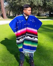 Mexican Poncho Serape / Sarape Blue w/ Multi-Colored Stripes, Saltillo Poncho