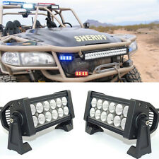"2x White 12 LED Vehicle Lights Bar Deck Dash Grill 6"" 7"" inch flood beam ATV"