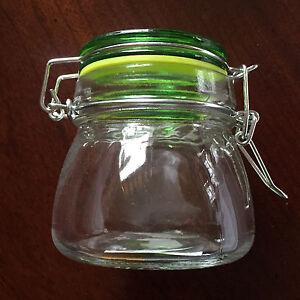 SMALL 6oz TAPERED Glass Stash Jar Spice Storage Clamp Flip Lid Odor-tight Seal