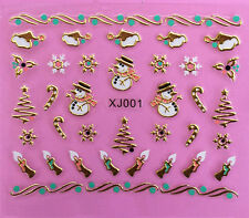 Christmas GOLD Snowmans Snowflakes Xmas Tree Candles 3D Nail Art Stickers Decals