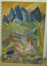 Fantastic ART DECO Pastel Drawing FEMALE NUDE Early 20th Century FAUVISM Cubism