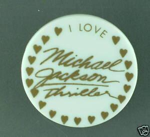 RARE VINTAGE I love Michael Jackson thriller BUTTON 1982 CONDITION NEW